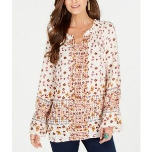 STYLE & CO Printed Peasant Top